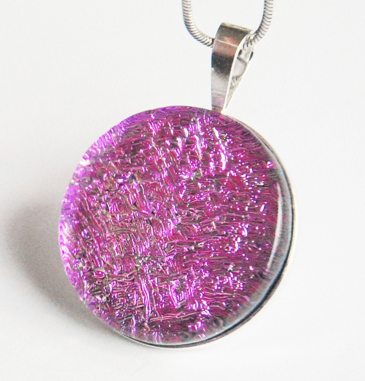 Vibrant Pink Fused Dichroic Glass Sterling Silver Pendant