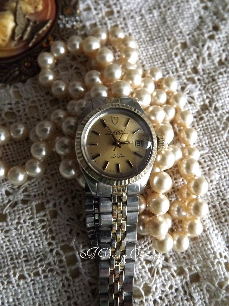 Vintage Ladies Authentic Rolex Tudor Oyster Self Winding Wrist Watch by avintageobsession on etsy