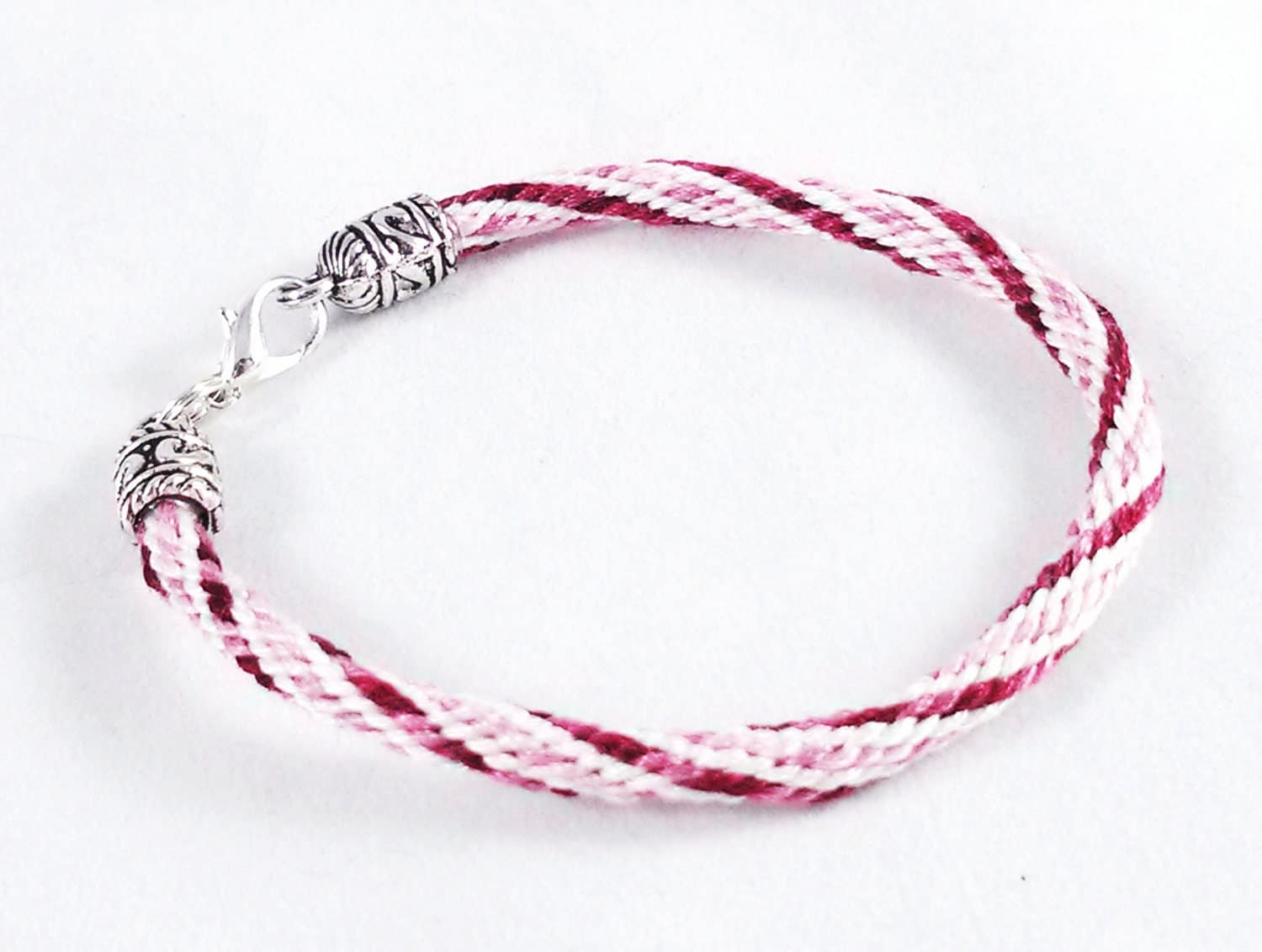 Cranberry And Rose Spiral Kumihimo Bracelet By Knottyandnyce