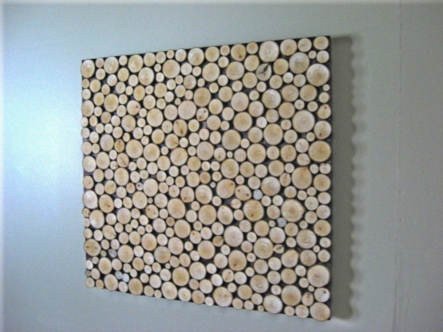 Wood Slice Wall Decor : Wood slice wall art collage sculpture by
