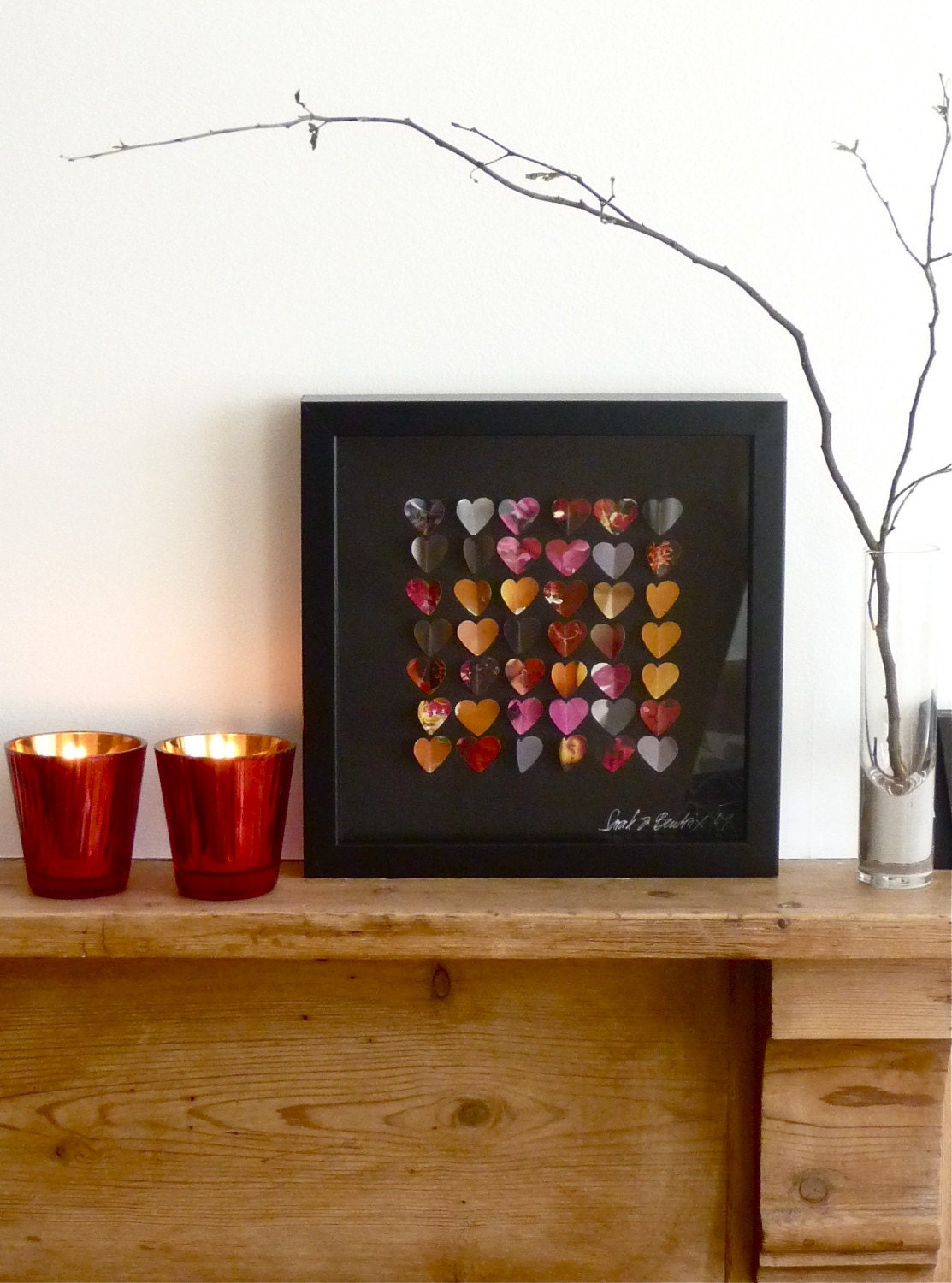 Winter Hearts Framed Picture 3D