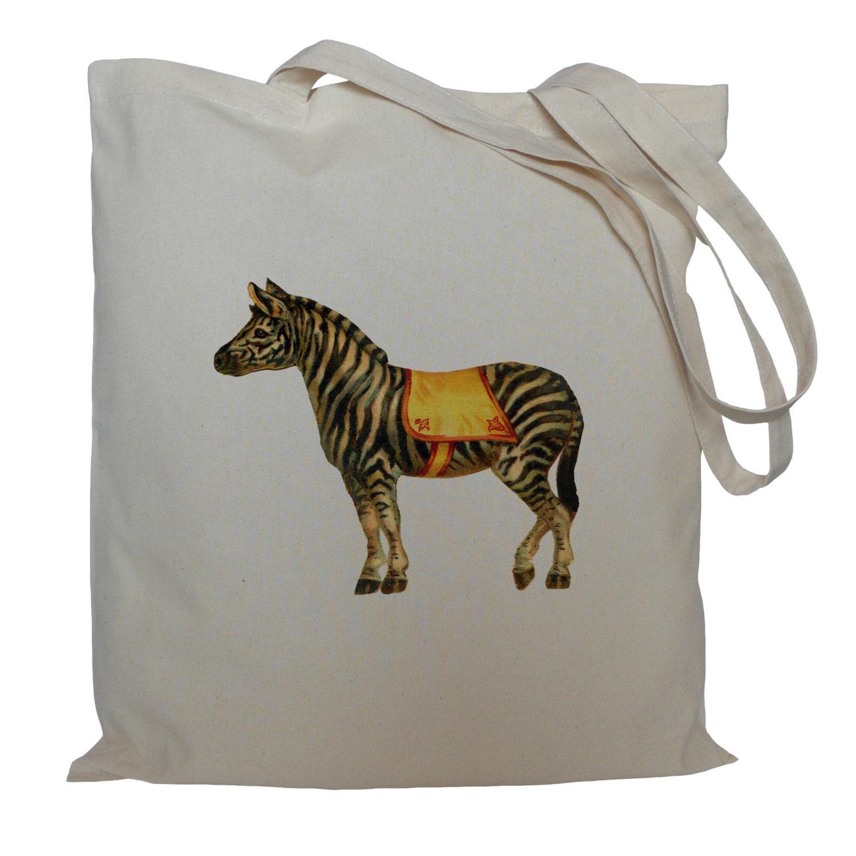 Tote bag drawstring bag circus zebra cotton bag material shopping bag shoe bag gift bag animal market bag