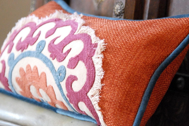 Suzani Embroidered Mandarin Spice Linen Designer Pillow, Boudoir Pillow, Accent Pillow, Decorative Pillow, Cushion