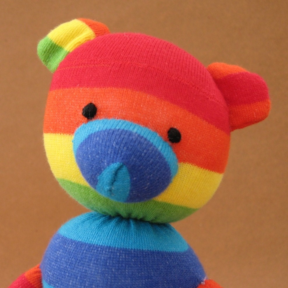 Handmade Bear - Rainbow Sock Bear