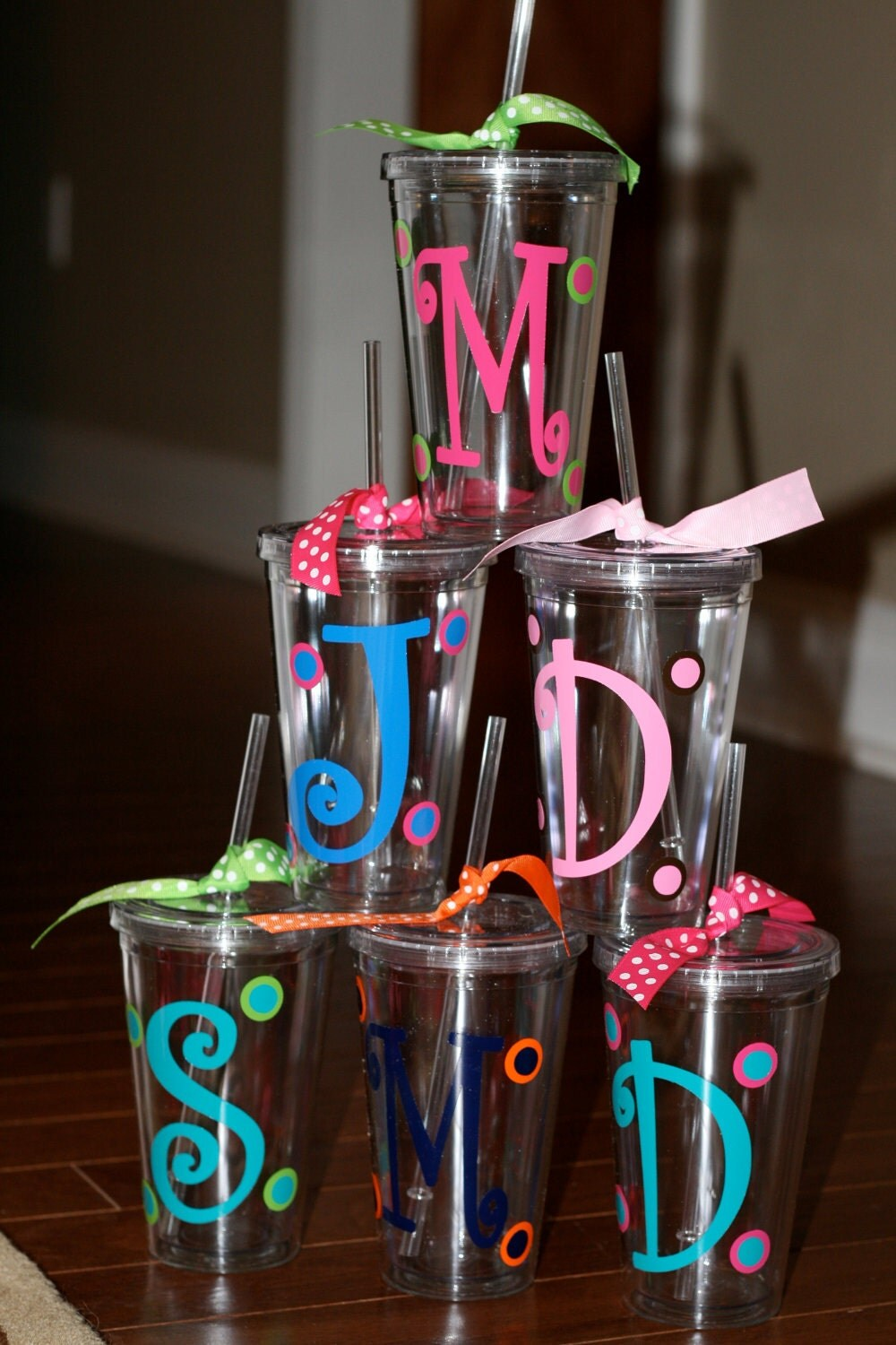 Items similar to personalized acrylic cups with monogram for Vinyl letters for plastic cups