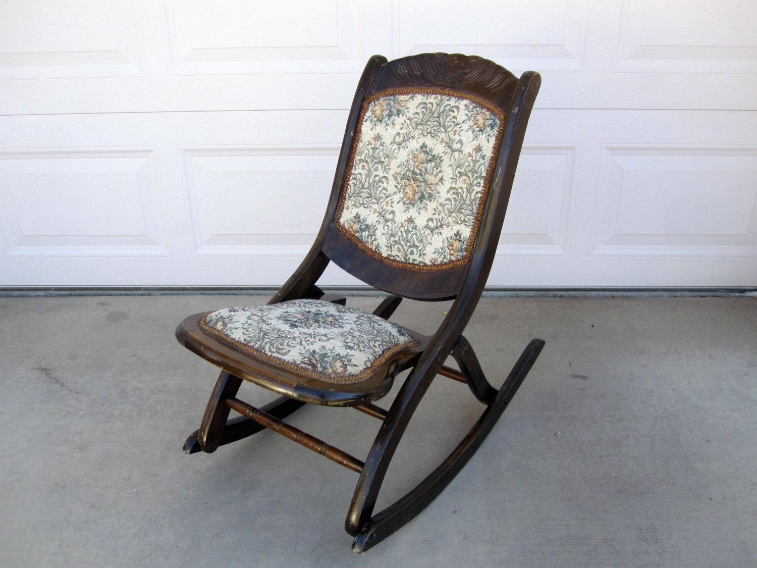 antique mahogany folding rocking chair with floral by midmod