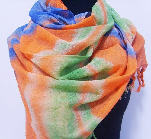 lightweight hand dyed fabric multicolor Flamboyant holiday Staining Wheat BLUE orange fall M33