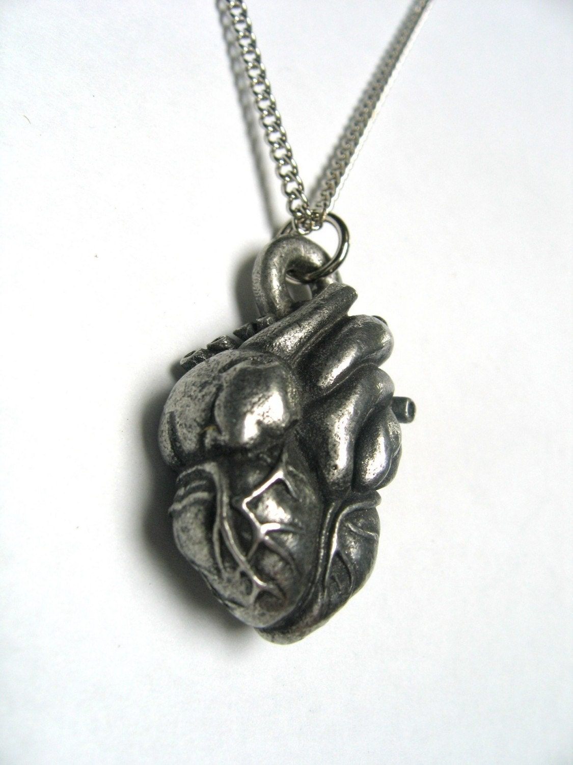 Antique Silver Anatomical Heart Necklace - Moon Raven Designs