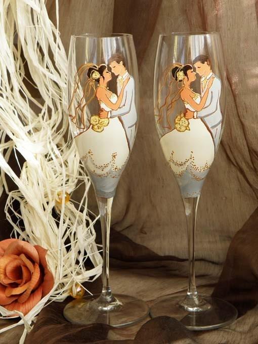 Hand painted personalized wedding glasses Wedding portrait - Wedding valse