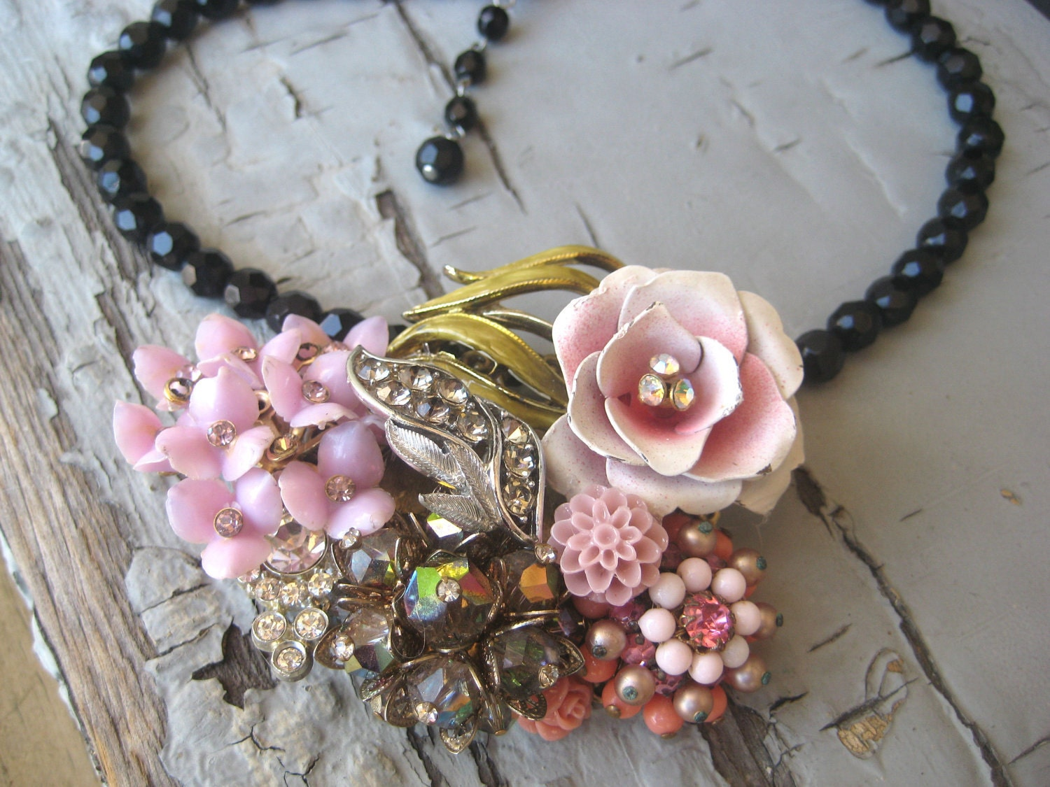 """Pink Grey lavender Vintage brooch Earring Collage Assemblage Rose Rhinestone """"Fairy Tale""""  Shabby Chic OOAK"""