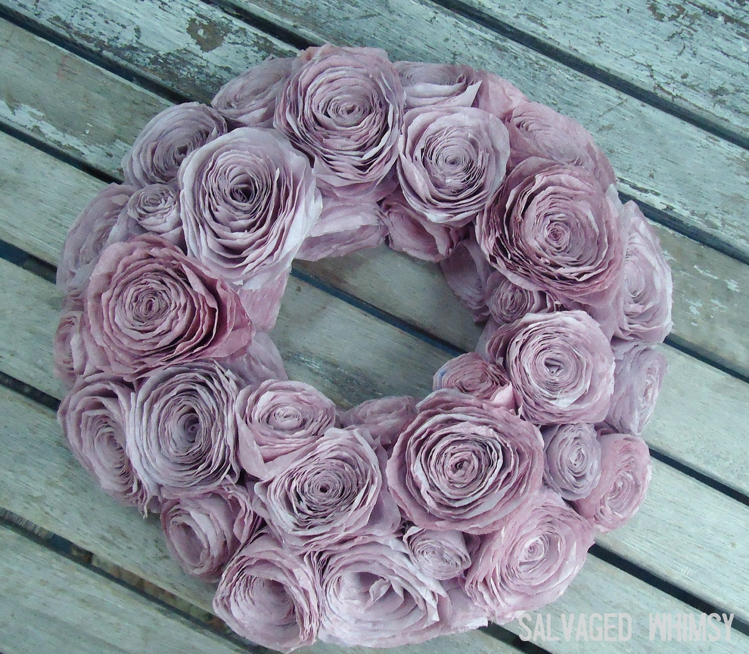 Purple Pink Coffee Filter Rolled Flower Wreath