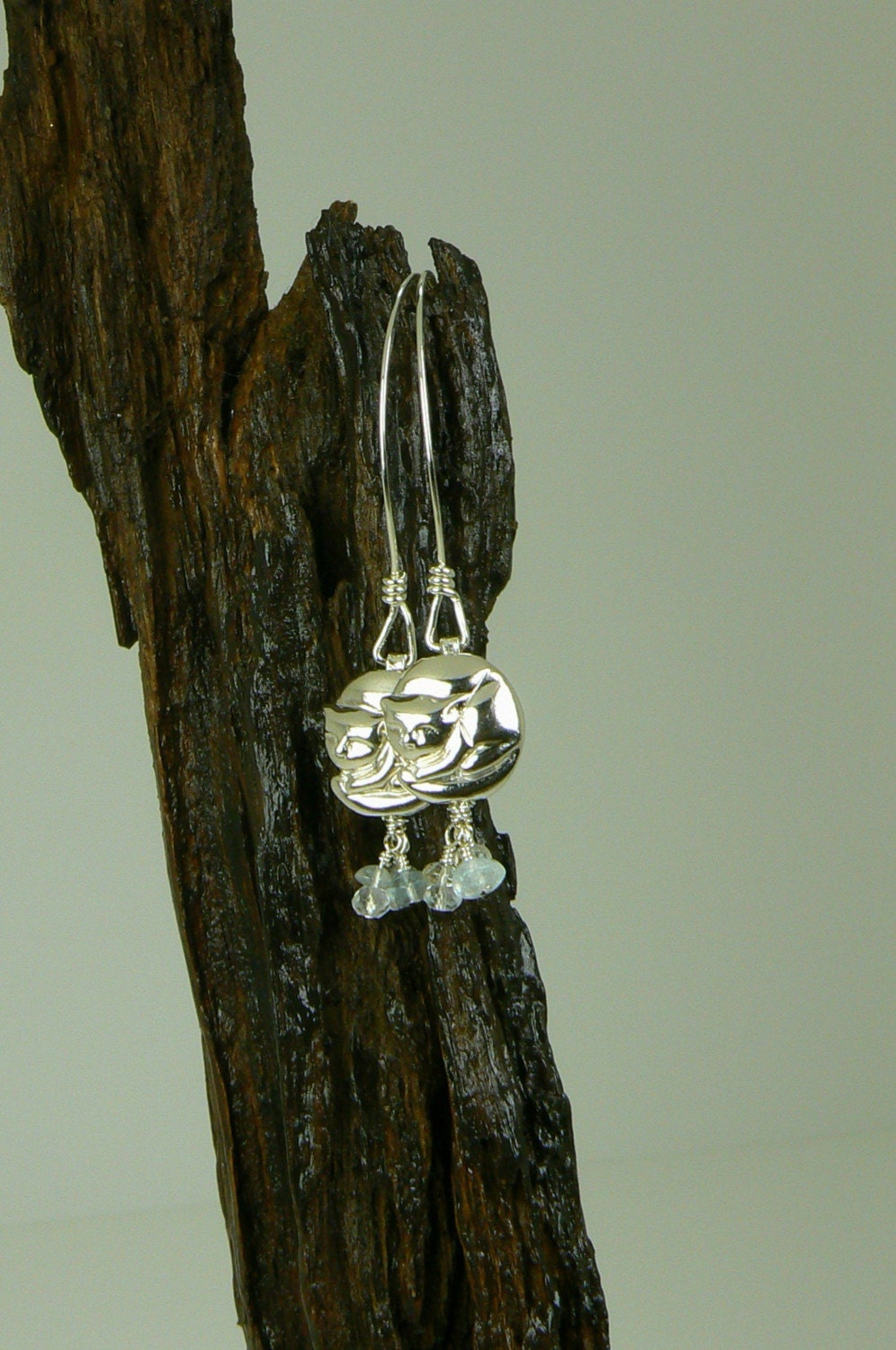 Here Kitty Kitty~ sterling silver aquamarine and rock crystal earrings by ElysianFields from etsy.com