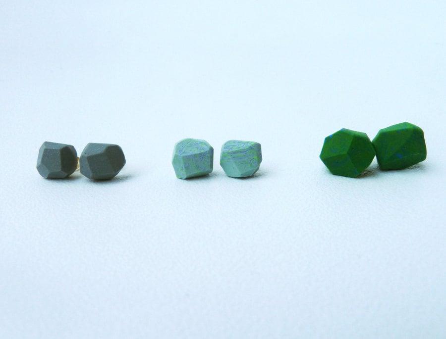 mint green marbled geo earrings