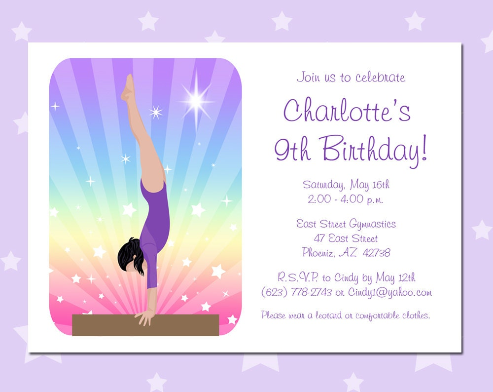 Gymnastic Party Invitations with best invitations design