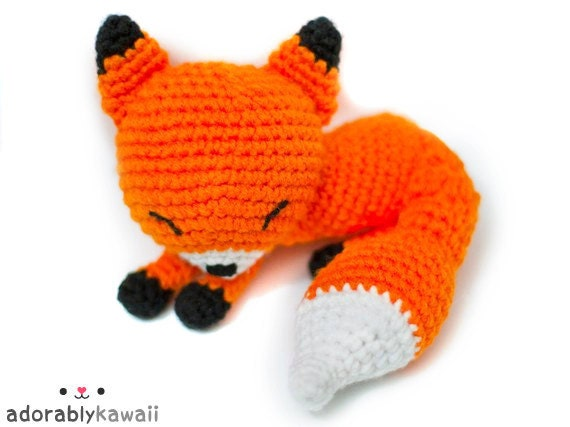 Amigurumi Strawberry Girl Free Pattern : Cute Sleepy Fox Amigurumi Plush Doll Toy PRE by adorablykawaii