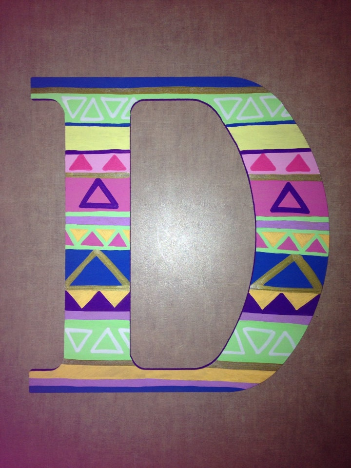 Neon tribal painted wooden letters large size by thedreamsicle for Large neon letters