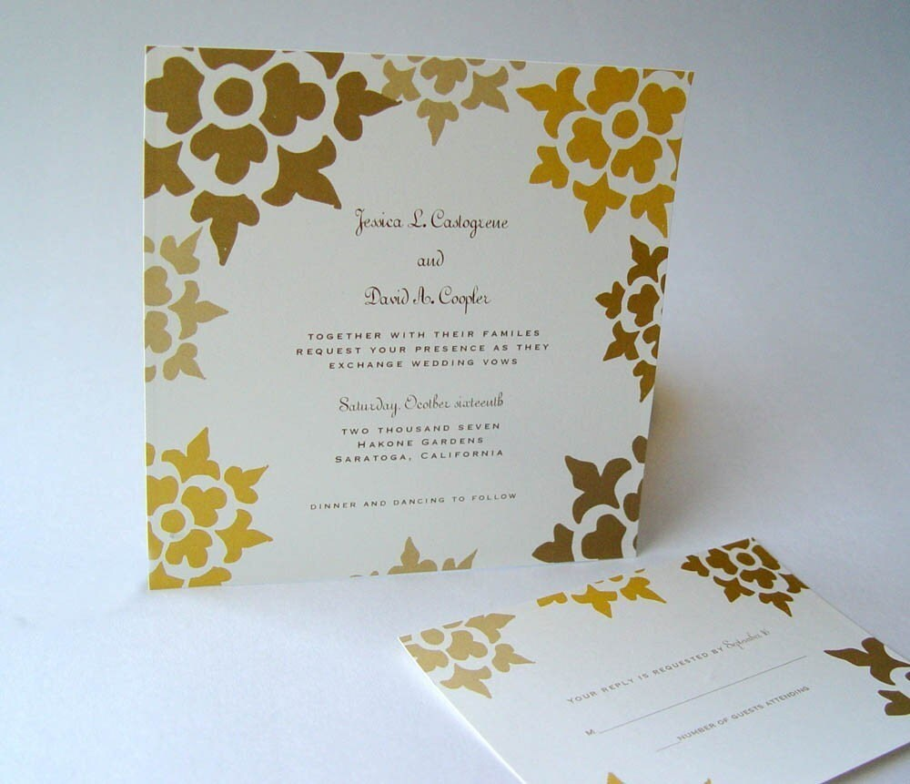 Autumn Floral Square Wedding Invitations Set of 50