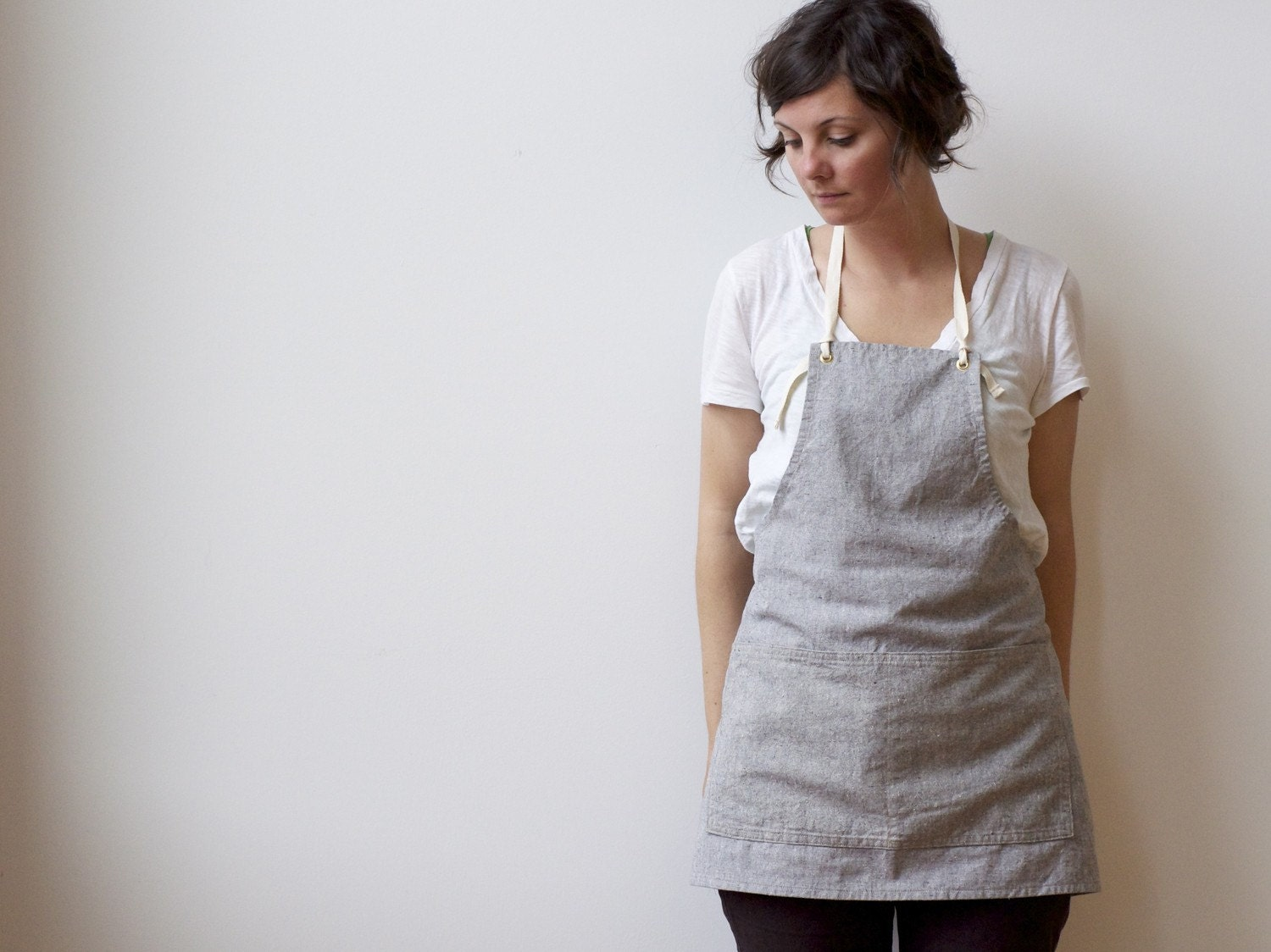 APRON organic cotton hemp grey