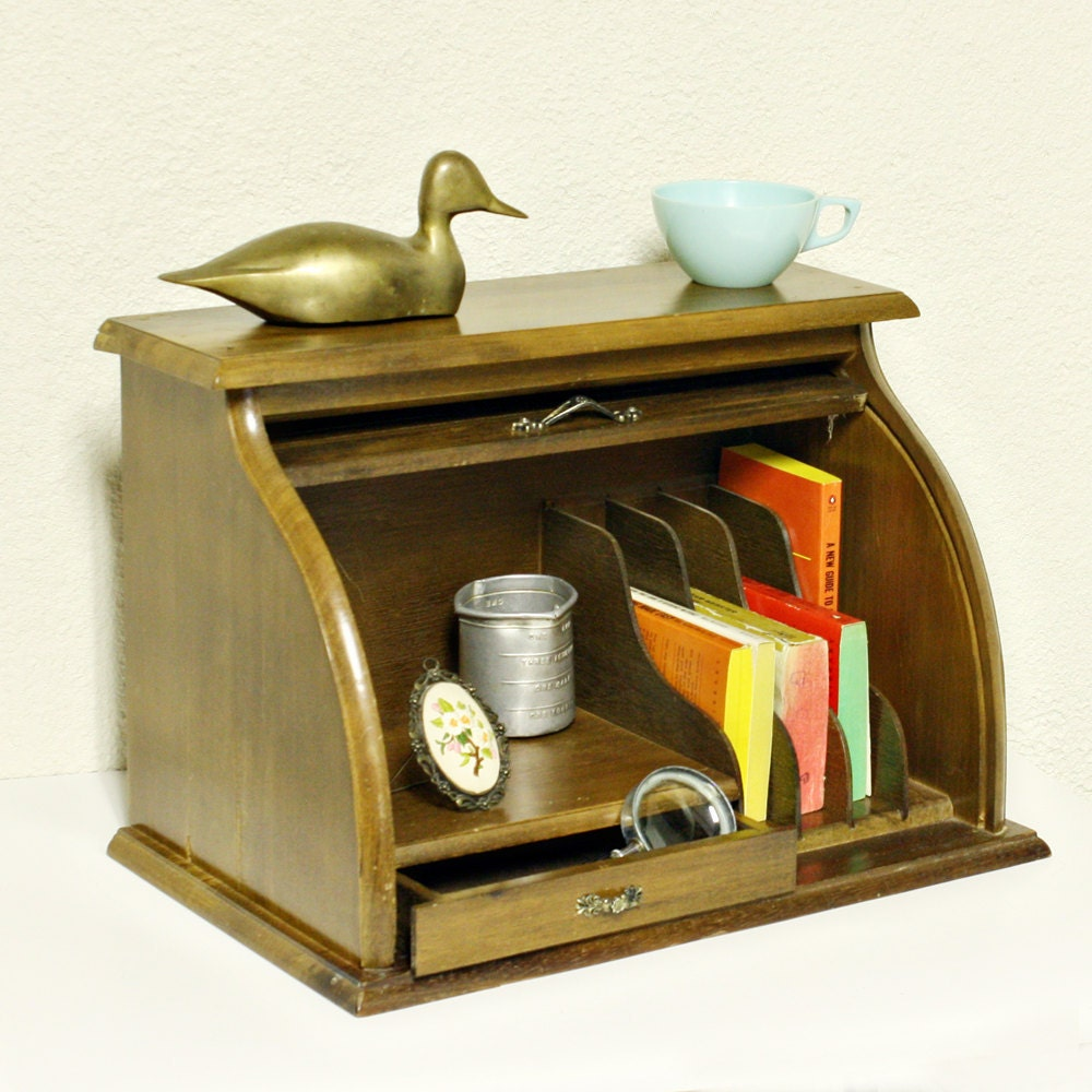 Vintage bread box desk organizer desk caddy by oldcottonwood - Wood desk organizer ...