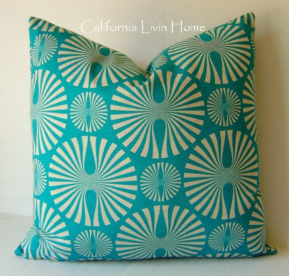 "Geometic Spins Pillow Cover / 18"" x 18"" / Dk. Turquoise / Indoor Fabric / Hidden Zipper Closure"