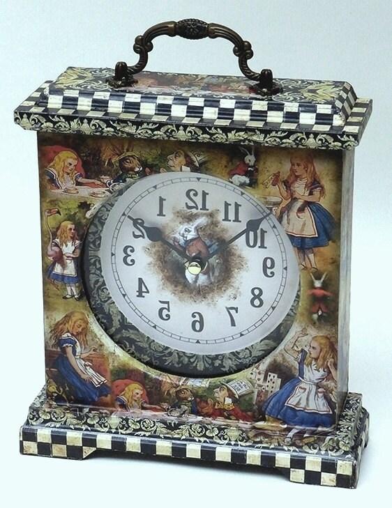 Alice in Wonderland. Alice in Wonderland Clock. Unique Clock. Fairy Tale Clock. Alice Clock. Alice in Wonderland Decor. Alice Carriage Clock