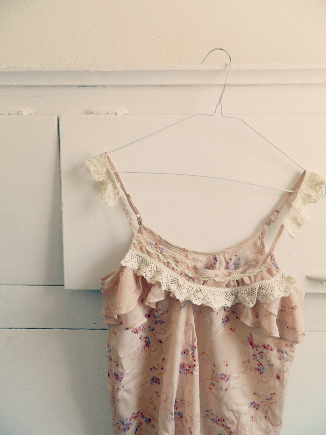Antique lace and ruffle tank camisole, silk and beige, upcycyled clothing - RecycledFabric