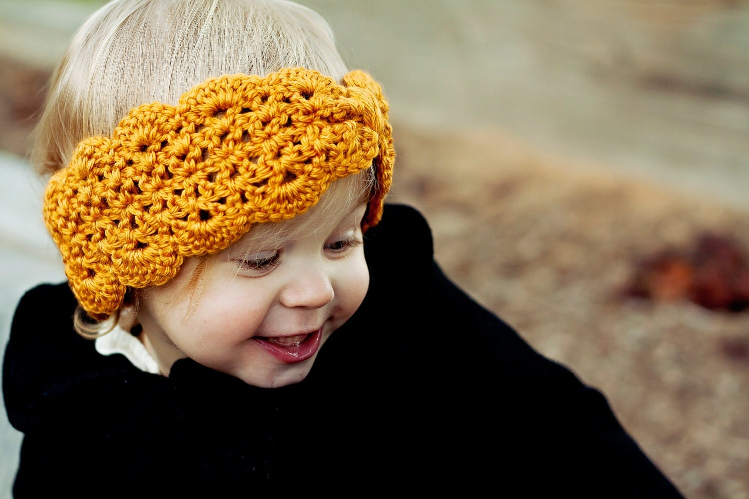 Lacy scalloped crochet turban headband and ear warmer in mustard yellow gold