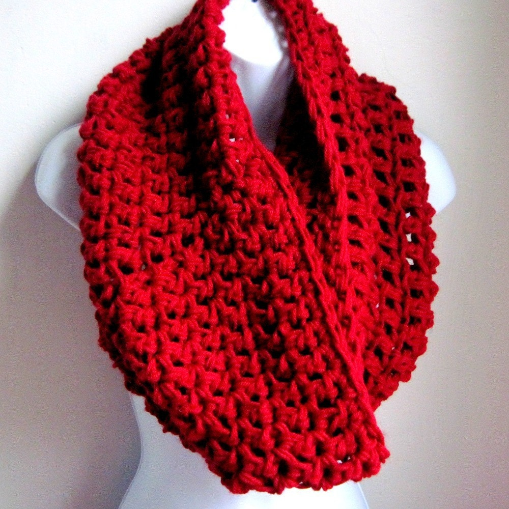 "Cowl Bordeaux  Red Infinity Scarf-  Extra Large Chunky Scarf   ""Buy one get one 50% off lowest price"""