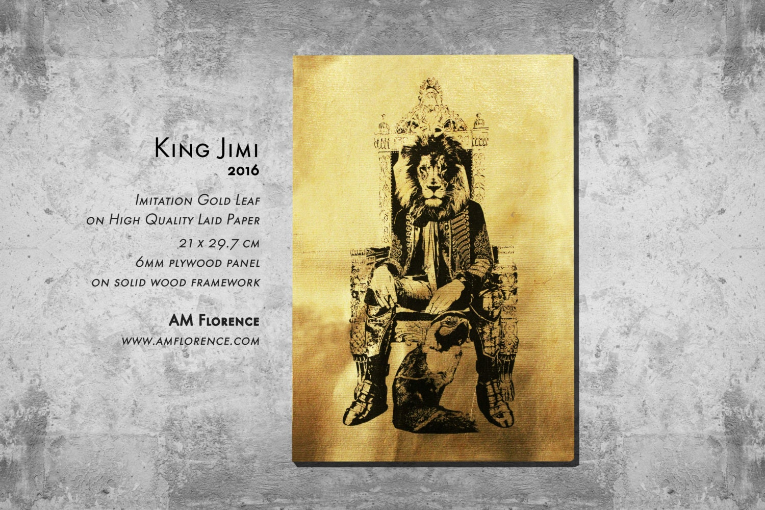 A4 Elegant Animal Art Print Picture on Imitation Gold Leaf and wooden frame home decor handmade King Jimi