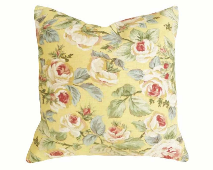Pale Yellow Throw Pillow Cover : Yellow Floral Pillows 18x18 Vintage Style by PillowThrowDecor