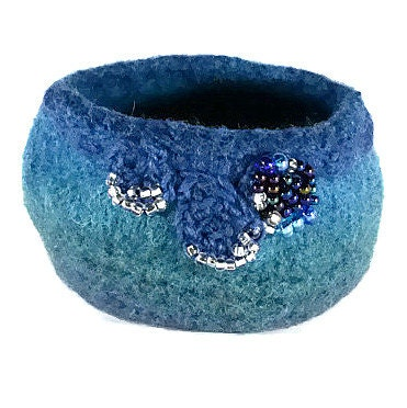 Fiber Art Bowl - (hand felted and hand formed wool art) -variegated blue-turquoise hand dyed and spun wool.