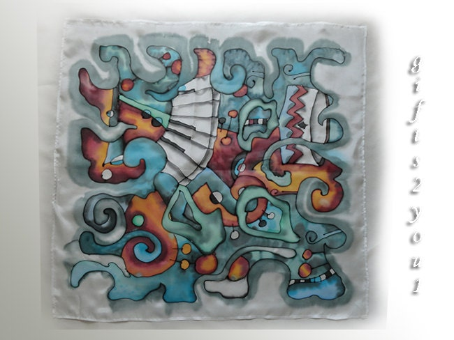 """Silk scarf. Only Jazz. White, blue, turquoise, crimson, orange colors. Size 59x59cm (23""""x23"""") - gifts2you1"""