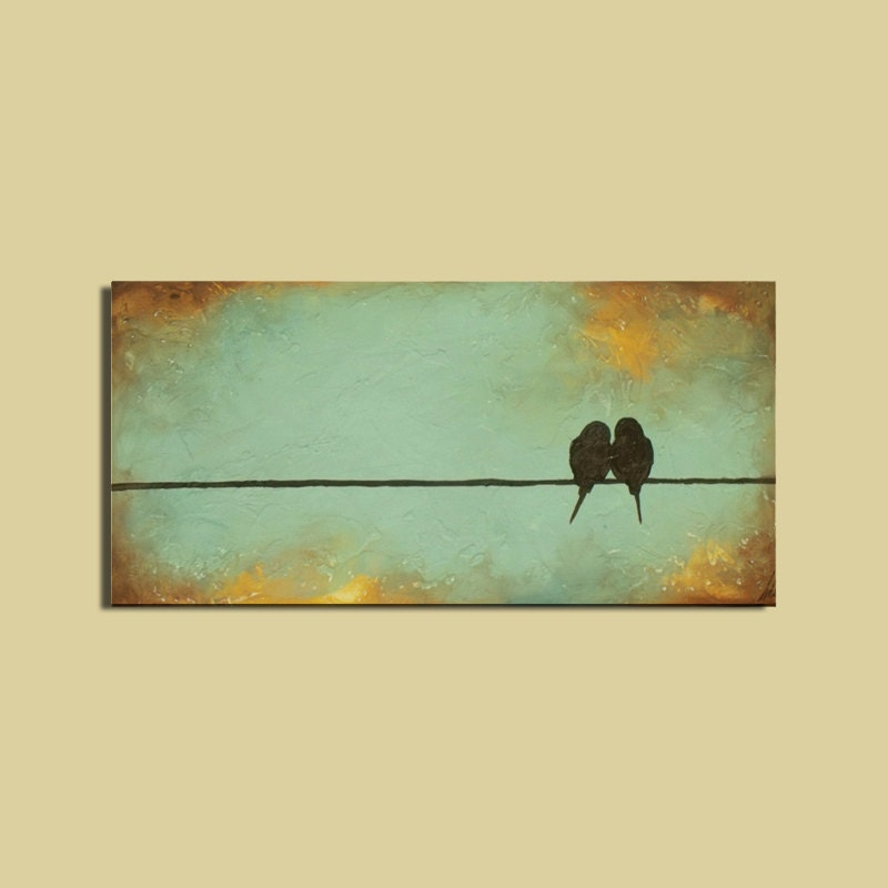 Art Painting Signature Birds on a Wire Romantic , Wedding  Art - ContemporaryEarthArt