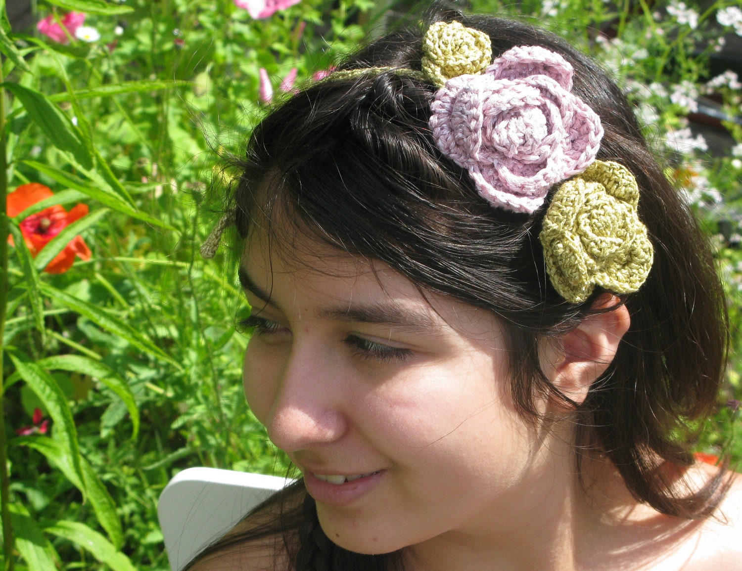 A Rose is a rose III headband or necklace in delicate pink and olive shades