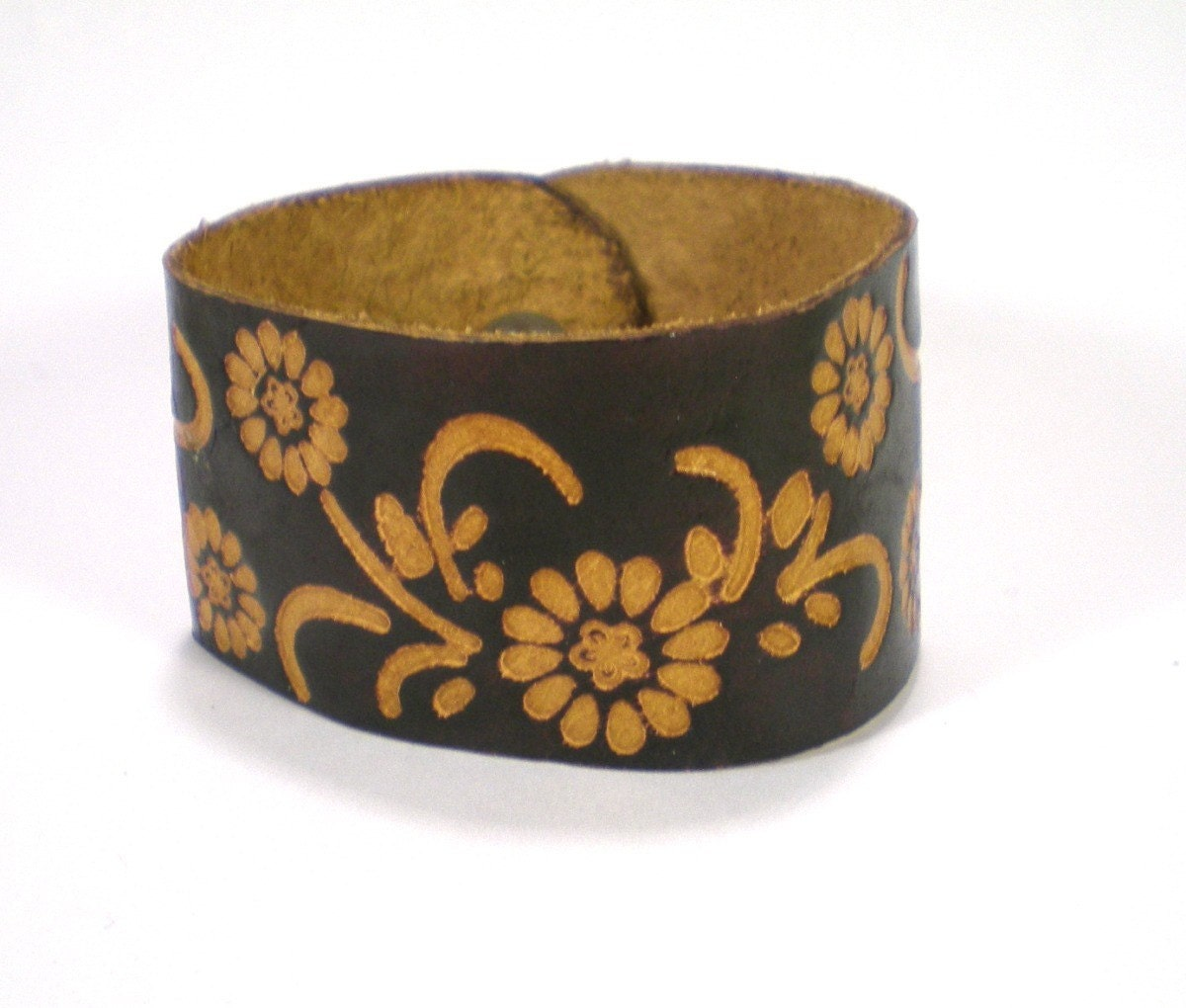 Vintage Hand Tooled Leather Floral Cuff Bracelet by antiquorama from etsy.com