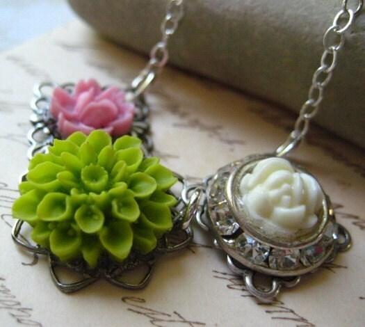 Flower Garden Sterling Silver Rhinestone Necklace