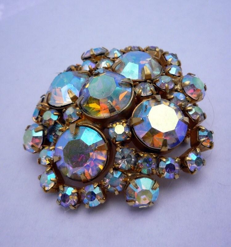 Vintage Rainbow Rhinestone Costume Jewelry Brooch