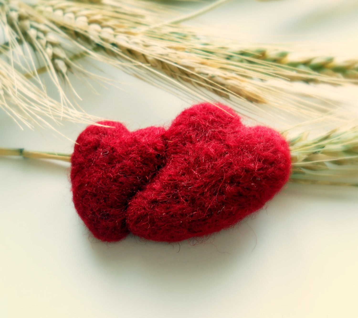 Two Hearts Needle Felted Red Brooch by dodoo on Etsy from etsy.com