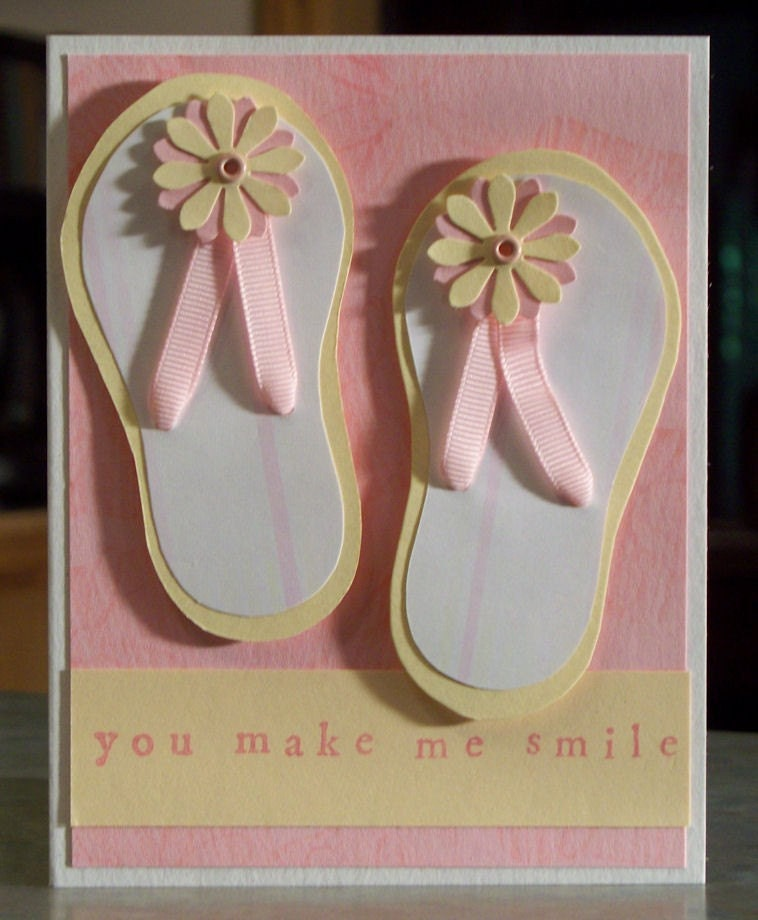 Girlie Handmade Card, Hand Cut Flip Flops, Any Occasion