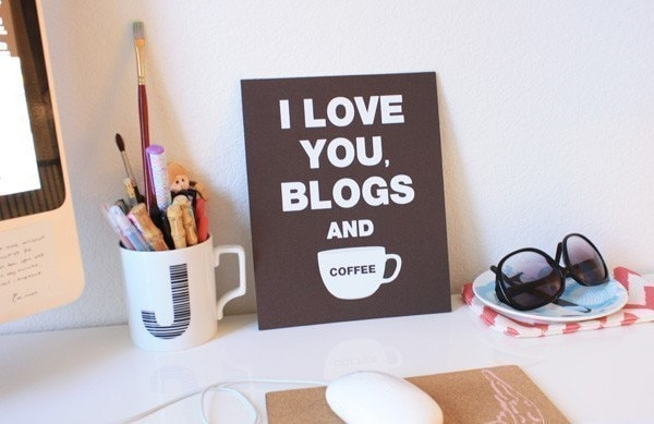 I Love You Blogs and Coffee Print (ESPRESSO) (8X10)