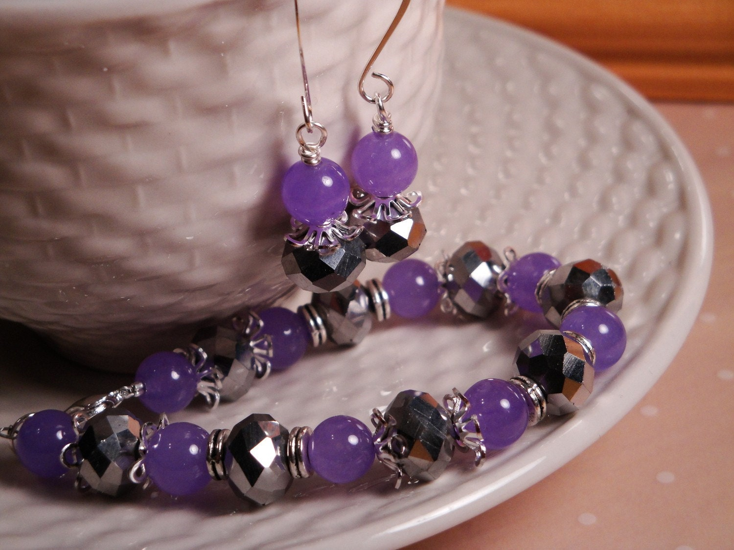 ON SALE Lilac Alexandrite and Silver Chinese Crystal 2pc Set