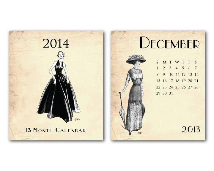 2014 Desk Calendar - Vintage Fashion on Vintage Background - 13 Month - Jewel Case - December 2013 - December 2014 - SusanNewberryDesigns