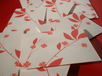 Etsy :: Red Floral Envelopes  (Set of 8)