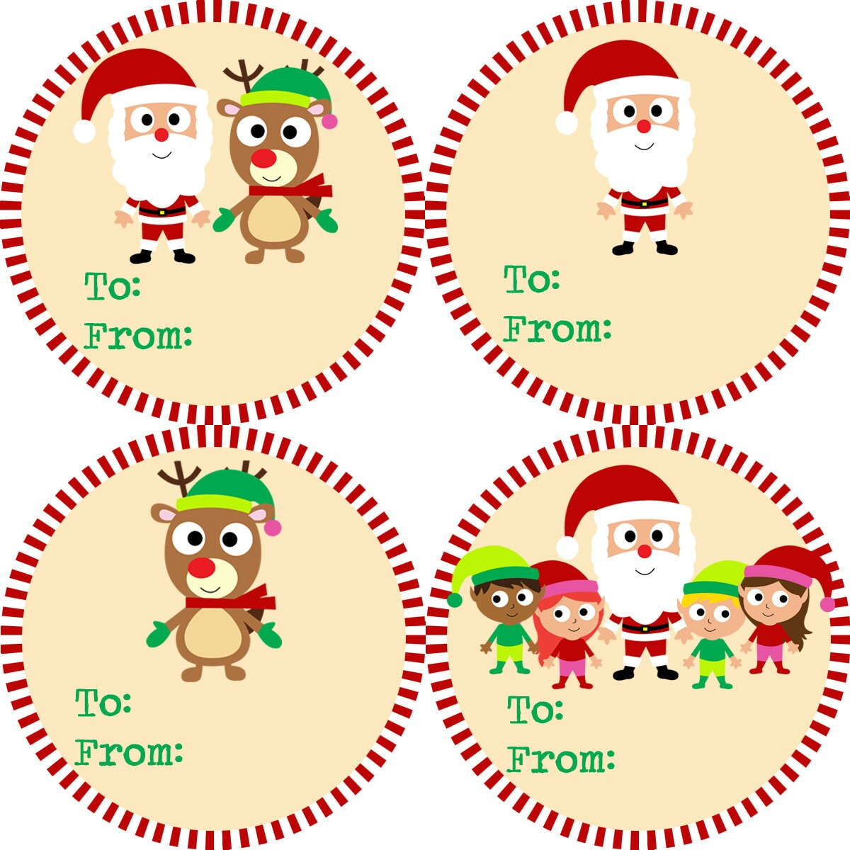 similar to Christmas Gift Tag Stickers - Red and Green Striped Santa ...