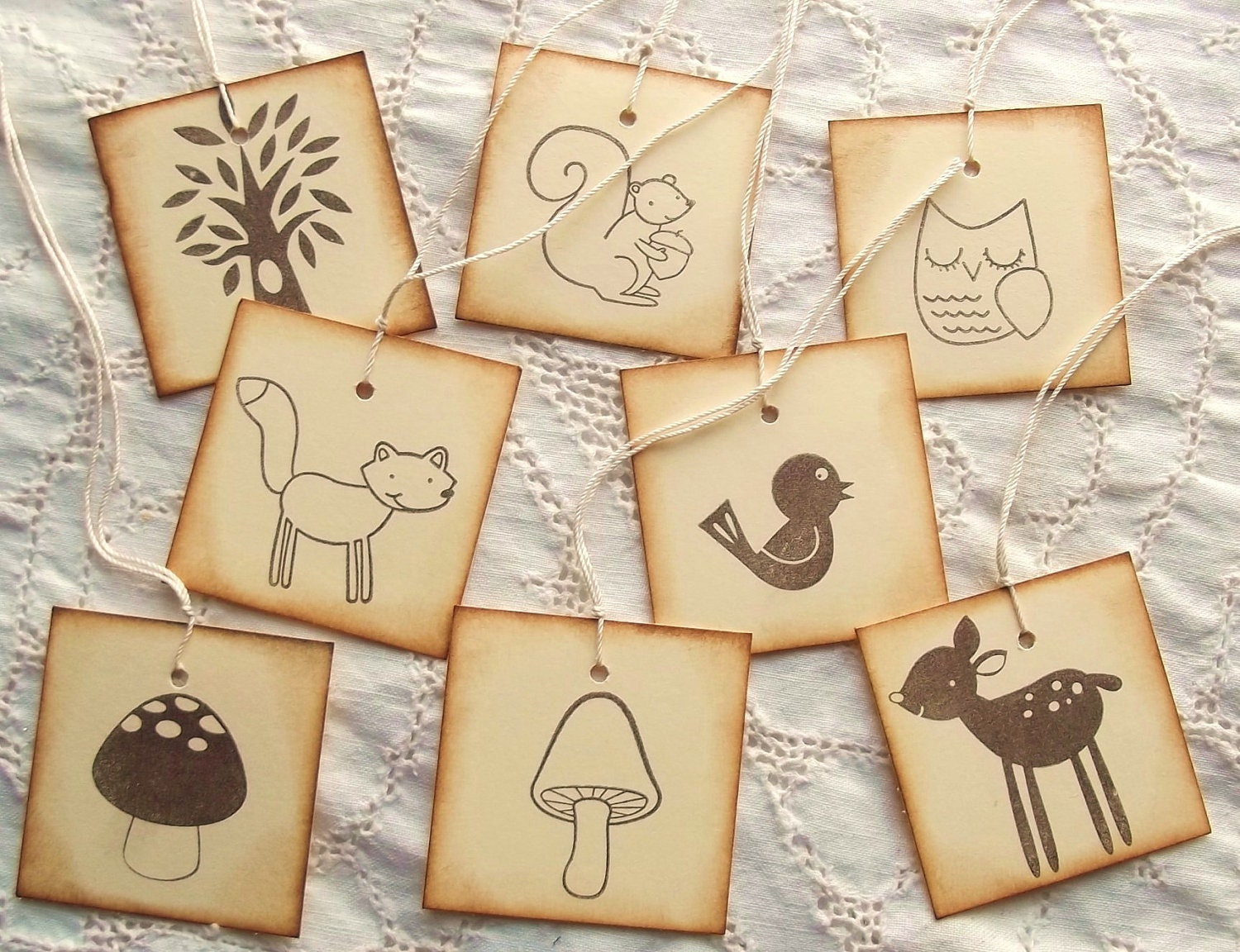 Happy WOODLAND ANIMALS Tags - Stamped - Retro Vintage Inspired - Natural, Variety