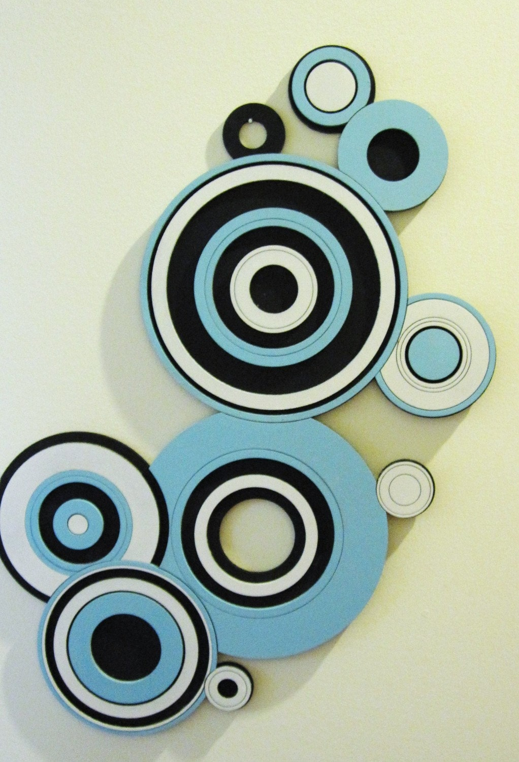 Charmant Circle Wall Art Black White And Blue By 3princessesengraving