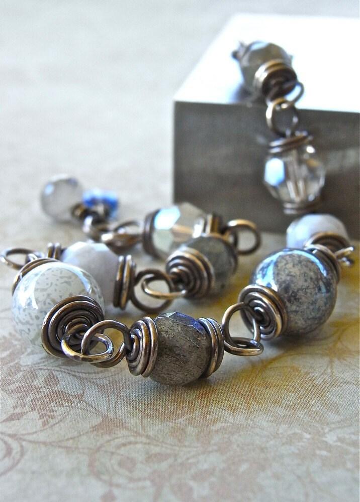 Bracelet - sterling silver, wire wrapped, Swarovksi crystal, vintage Swarovksi bead, labradorite, kyanite, blue lace agate, rutile quartz - Guichen Bay