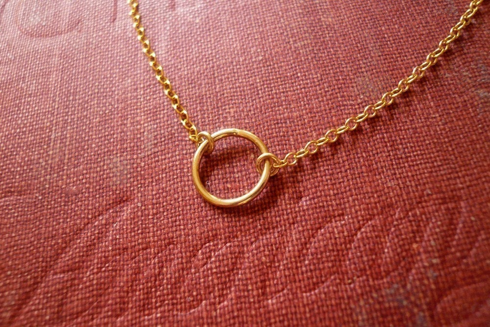 tiny gold circle necklace in gold filled sweet and by