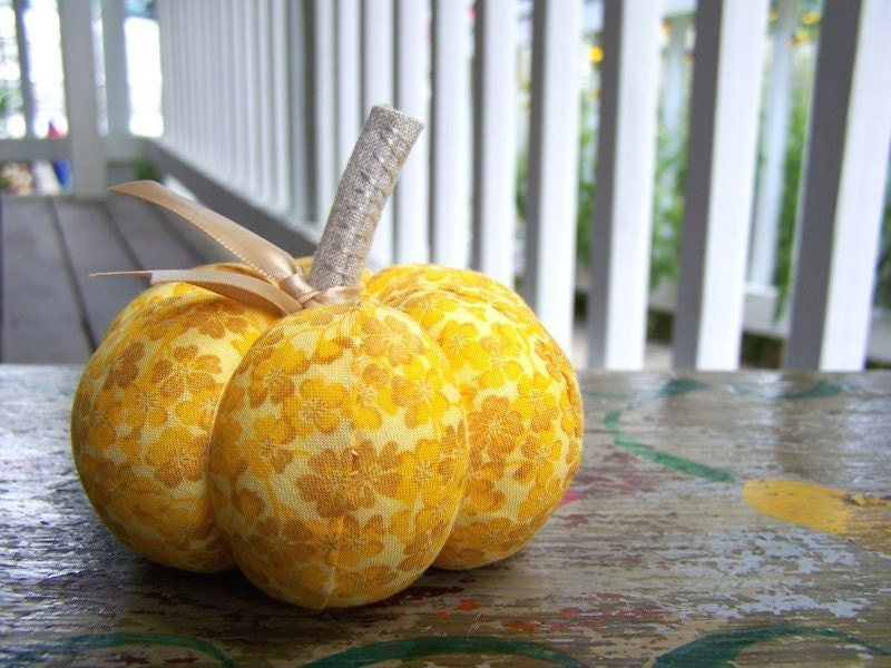 Handmade Yellow Floral Pumpkin Pincushion