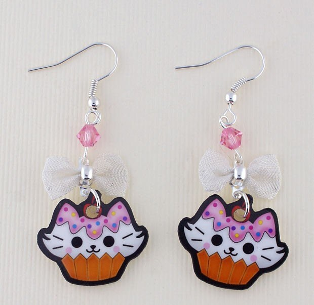 SALE Kawaii Cupcake Kitty Printed Acrylic Earrings with swarovski crystals and bow Japanese lolita harajuku anime style/inspired